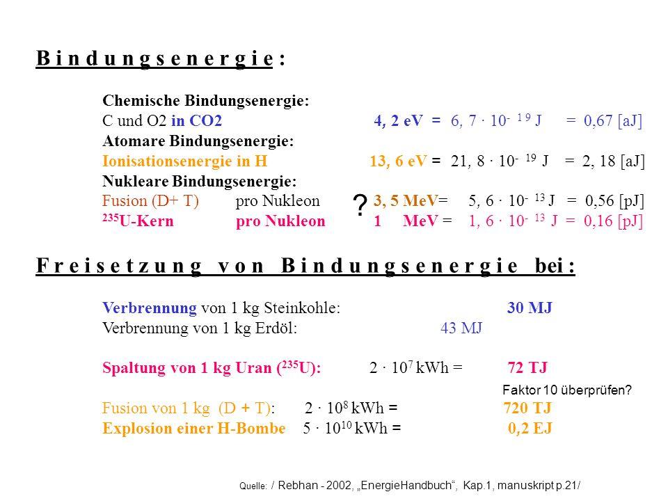 B i n d u n g s e n e r g i e : Chemische Bindungsenergie: C und O2 in CO2 4, 2 eV = 6, 7 · 10- 1 9 J = 0,67 [aJ]